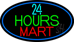 24 Hours Mini Mart With Blue Round LED Neon Sign