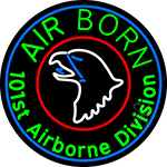 Airborne With Blue Round LED Neon Sign