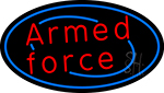 Armed Forces With Blue Round LED Neon Sign