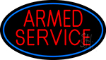 Armed Service With Blue Round Neon Sign