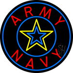 Army And Navy With Blue Round LED Neon Sign