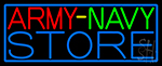 Army Navy Store With Blue Border Neon Sign