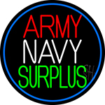 Army Navy Surplus Blue Round LED Neon Sign