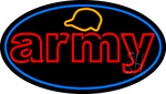 Army With Blue Round LED Neon Sign
