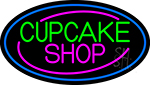 Block Cupcake Shop With Blue Round LED Neon Sign
