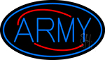 Blue Army With Blue Oval Neon Sign