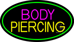 Blue Body Piercing With Green Oval Neon Sign