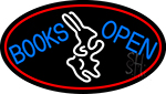 Blue Books With Rabbit Logo Open With Red Oval LED Neon Sign