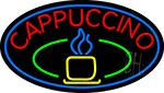 Blue Cappuccino Cup With Blue Oval LED Neon Sign