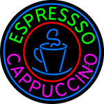 Blue Cappuccino Espresso With Blue Circle LED Neon Sign