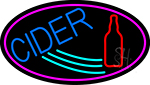 Blue Cider With Pink Oval LED Neon Sign