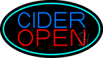 Blue Cider Open With Turquoise Oval LED Neon Sign