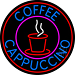 Blue Coffee Cappuccino With Red Circle LED Neon Sign