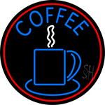 Blue Coffee Cup With Red Circle LED Neon Sign