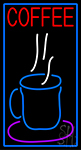 Blue Coffee Glass With Blue Border LED Neon Sign