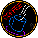 Blue Coffee Glass With Orange Circle LED Neon Sign