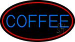 Blue Coffee With Red Oval LED Neon Sign