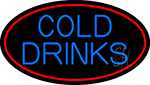 Blue Cold Drinks With Red Oval LED Neon Sign
