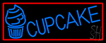 Blue Cupcake With Cupcake With Red Border LED Neon Sign
