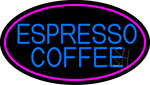 Blue Espresso Coffee With Pink Oval LED Neon Sign