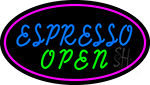 Blue Espresso Open With Pink Oval LED Neon Sign