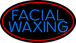 Blue Facial And Waxing Red Oval LED Neon Sign
