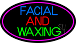 Blue Facial And Waxing With Pink Oval LED Neon Sign