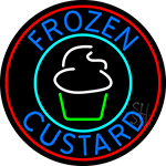 Blue Frozen Custard With Red Circle Logo 2 LED Neon Sign