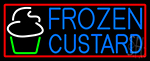 Blue Frozen Custard With Red Border Logo 2 LED Neon Sign