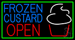 Blue Frozen Custard With Green Border Logo Open 1 LED Neon Sign