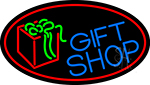Blue Gift Shop With Red Oval LED Neon Sign