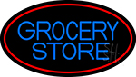 Blue Grocery Store With Red Oval LED Neon Sign