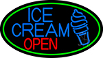 Blue Ice Cream Open With Green Oval LED Neon Sign