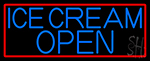 Blue Ice Cream Open With Red Border LED Neon Sign