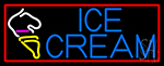 Blue Ice Cream With Red Boder Cone LED Neon Sign