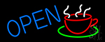 Blue Open Coffee Cup LED Neon Sign