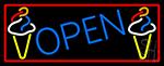 Blue Open Ice Cream Cone LED Neon Sign