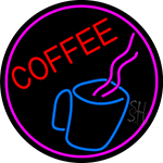 Coffee Cup With Pink Steam LED Neon Sign