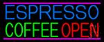 Espresso Coffee Open LED Neon Sign