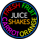 Fresh Fruit Juice Carrot Orange Shakes LED Neon Sign