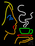 Girl Logo With Hot Coffee LED Neon Sign