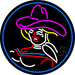 Girl With A Hat LED Neon Sign