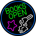 Green Books With Rabbit Logo Open LED Neon Sign