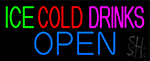 Green Ice Red Cold Drinks Open LED Neon Sign