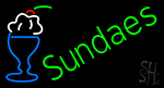Green Sundaes Cone LED Neon Sign