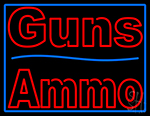 Guns Blue Line Ammo LED Neon Sign