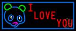 I Love You Bear Logo LED Neon Sign