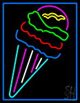 Multi Colored Ice Cream Cone Logo LED Neon Sign