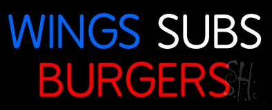 Wings Subs Burgers LED Neon Sign