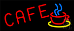 Red Cafe With Cup LED Neon Sign